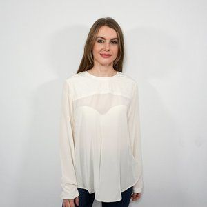 MADEWELL Ivory Silk Quilted Long Sleeve Blouse NWT